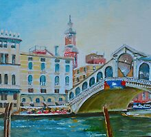 The Rialto Bridge over the Grand Canal, Venice, Italy by Dai Wynn