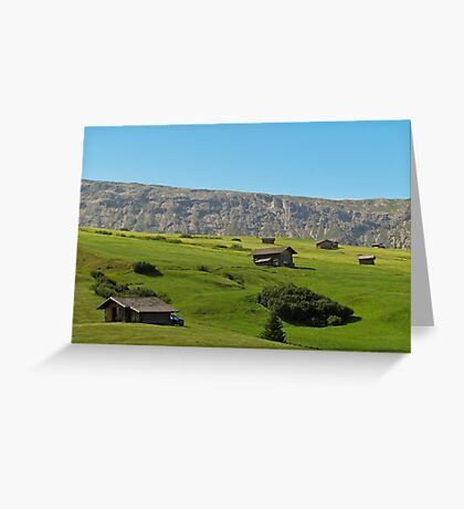 Houses in green valley in the mountains (Italy) Greeting Card