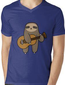 Guitar Sloth Mens V-Neck T-Shirt