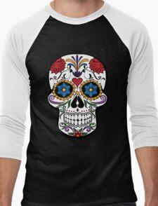 Colorful Sugar Skull Men's Baseball ¾ T-Shirt