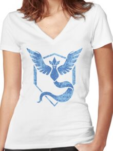 Team Mystic - Pokemon GO (Distress) Women's Fitted V-Neck T-Shirt