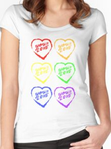 YOU=LOVE RAINBOW LOVE POWER Women's Fitted Scoop T-Shirt