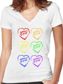 YOU=LOVE RAINBOW LOVE POWER Women's Fitted V-Neck T-Shirt