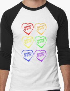 YOU=LOVE RAINBOW LOVE POWER Men's Baseball ¾ T-Shirt