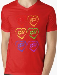 YOU=LOVE RAINBOW LOVE POWER Mens V-Neck T-Shirt
