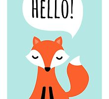 Cute cartoon fox on blue background saying hello by MheaDesign