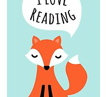 I love reading, cute cartoon fox on blue background by MheaDesign