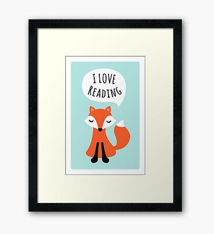 I love reading, cute cartoon fox on blue background Framed Print