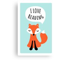 I love reading, cute cartoon fox on blue background Canvas Print