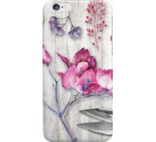 Botanica II Botanical nature study flower, leaf seeds iPhone Case/Skin