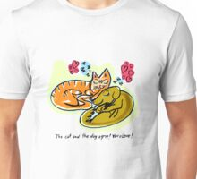 The cat and the dog agree! YOU=LOVE! Unisex T-Shirt