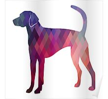 American Foxhound - Colorful Geometric Pattern Silhouette - Pink Poster