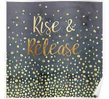Rise and Release - Gold on Smoky Navy Poster