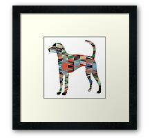 American Foxhound - Colorful Geometric Pattern Silhouette - Plaid Framed Print