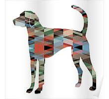American Foxhound - Colorful Geometric Pattern Silhouette - Plaid Poster