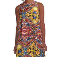 Ideoscope - Primary Color Modern Art Fractal Design A-Line Dress