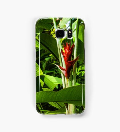 Tropical Impressions - Red Ginger Flower, Framed in Lush Jungle Green Samsung Galaxy Case/Skin