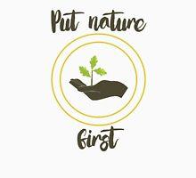 'Put nature first' Illustration Print Men's Baseball ¾ T-Shirt