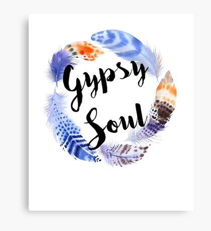 Boho Gypsy Soul Feather Wreath Canvas Print
