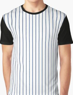 Delphinium Blue Pinstripe on Solid White Graphic T-Shirt