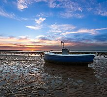 Fishing Boat Sunset by manateevoyager
