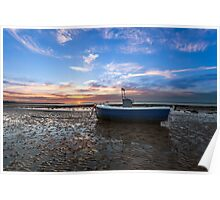 Fishing Boat Sunset Poster