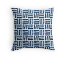 Kapa Tapa Cloth Barkcloth Geometric Tribal Sticks in Ink Blue and White Throw Pillow