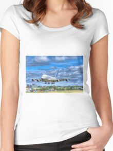 Airbus A380 Landing Women's Fitted Scoop T-Shirt