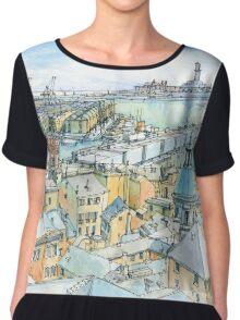 Il Porto (view of Genoa) Chiffon Top