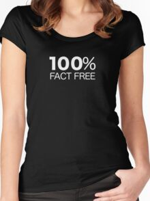 100% Fact Free Women's Fitted Scoop T-Shirt