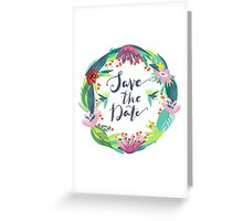 Save The Date Colorful Floral Wreath Greeting Card