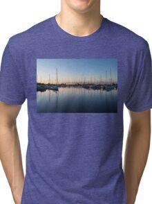 Pink and Blue Serenity - Soft Dawn at the Marina Tri-blend T-Shirt