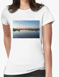 Pink and Blue Serenity - Soft Dawn at the Marina Womens Fitted T-Shirt