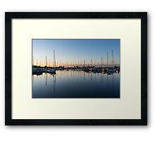 Pink and Blue Serenity - Soft Dawn at the Marina Framed Print
