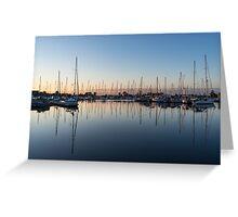 Pink and Blue Serenity - Soft Dawn at the Marina Greeting Card
