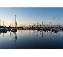 Pink and Blue Serenity - Soft Dawn at the Marina Photographic Print