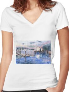 The First Light Of Dawn at Port Clyde Maine Women's Fitted V-Neck T-Shirt