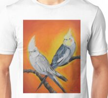 Parakeets in Orange Unisex T-Shirt