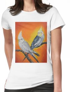 Parakeets in Orange Womens Fitted T-Shirt