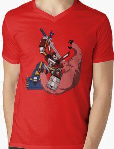 Voltron vs Robeast Cartoon Mens V-Neck T-Shirt