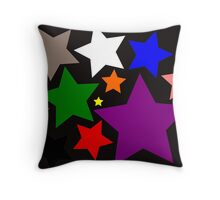 Black Rainbow Stars Throw Pillow