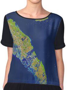 Bahamas Andros Island Nassau Caribbean Satellite Image Chiffon Top