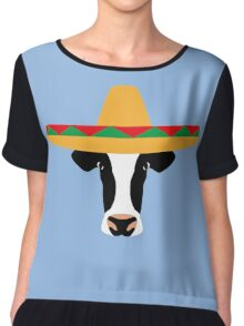 Cow Wearing a Sombrero Chiffon Top