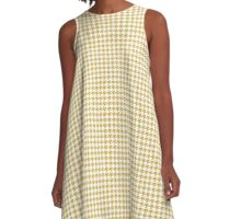 Classic Houndstooth in Spicy Mustard Yellow and White A-Line Dress