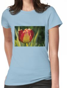 Sparkles and Warmth - a Red and Yellow Tulip in the Spring Rain Womens Fitted T-Shirt