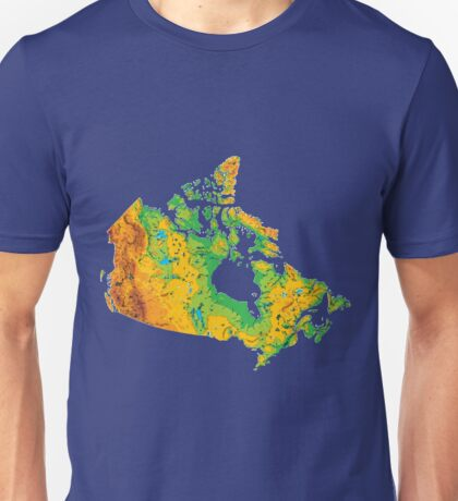 Physical Canada Map Unisex T-Shirt