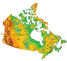 Physical Canada Map Photographic Print