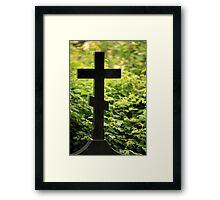 black cross gravestone Framed Print
