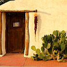 Red Door at Sunset - Mesilla, New Mexico by Larry Costales