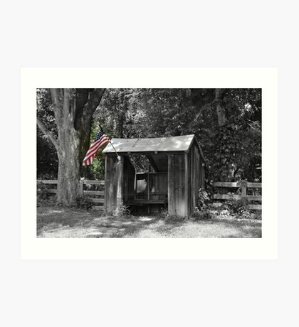 Shelter with Flag Art Print
